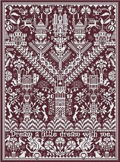 Castles in the Air cross stitch pattern by Long Dog Samplers at thecottageneedle.com Celtic motif monochromatic by thecottageneedle