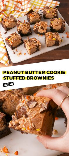 These brownies are STUFFED with peanut butter cookies Get the recipe at Delish.com. #recipe #easy #easyrecipe #peanut #peanutbutter #chocolate #dessert #baking #sugar #candy #brownies