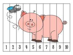 Number puzzle for kids - Kindergarten Reading Activities, Autism Activities, Number Puzzles, Puzzles For Kids, Pig Crafts, Number Sequence, Transitional Kindergarten, Preschool At Home, Preschool Farm