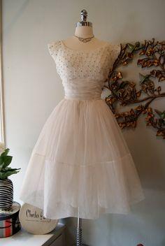 1950's White Chiffon Wedding #Repin