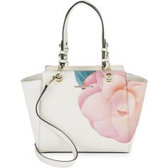 Karl Lagerfeld Paris Floral Printed Tote (£125) ❤ liked on Polyvore featuring bags, handbags, tote bags, white floral, white leather tote, floral tote bag, white leather purse, zip top tote bags and leather handbags