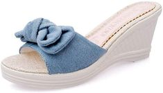 517a8e826725b Amazon.com  eleganceoo Wedge Sandal for Womens Fashion Lace Bowknot  Bohemian Platform Summer Slip-On Slipper-(Blue 37 6.5 B(M) US Women)  Shoes