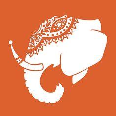 Blanc et Orange vif décoré éléphant indien par blockpartyprints                                                                                                                                                                                 Plus
