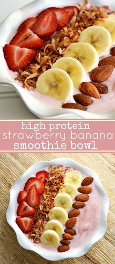 High Protein Strawberry Banana Smoothie Bowl Recipe with Almond Milk