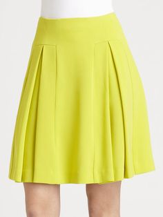 Diane Von Furstenberg Beata Pleated Skirt in Yellow