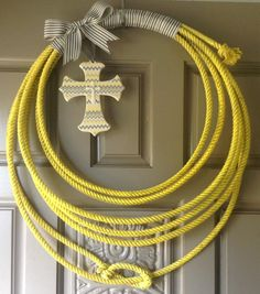 Upcycled Western Rope Wreath  yellow & gray by Carrielovescrafting