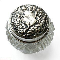 Antique Sterling Silver Repousse Rose & Cut Crystal Vanity Jar