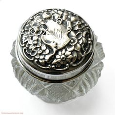Antique Sterling Silver Repousse Rose & Cut Crystal Vanity Jar