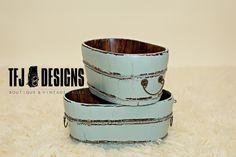 Aqua Oval Wooden Bucket w/Metal Handles - Vintage Style - Newborn Prop, $55.00 by TFJ Designs