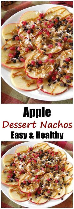 Stunning Apple Dessert Nachos Recipe with almond butter and chocolate chips - These are healthy, vegan and ready in 15 minutes!