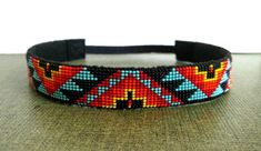 Turquoise beaded headband with Aztec/Native by TheIvoryBill