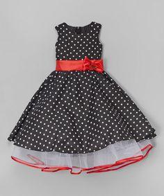 Look at this #zulilyfind! Black Polka Dot A-Line Dress - Toddler & Girls #zulilyfinds