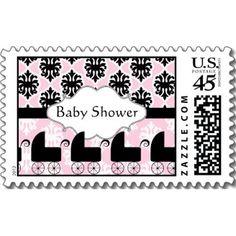 Pink Black Damask Baby Shower Postage Stroller