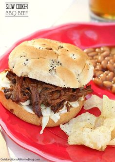 Slow Cooker BBQ Beef - Celebrations at Home- Let your slow cooker do all the work and serve these barbecue beef sandwiches for Fathers day or tailgating or any casual meal. Bbq Beef Crockpot, Slow Cooker Bbq Beef, Crockpot Dishes, Crock Pot Slow Cooker, Crockpot Recepies, Beef Dishes, Grill Sandwich, Roast Beef Sandwich, Bbq Beef Sandwiches