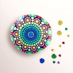 Mandala Stone - Hand Painted Festive Splendor in Greens, Blues, Reds and Gold by ChelseyLakeArt