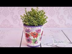Decoupage krok po kroku - doniczka ze spękczem jednoskładnikowym - YouTube Decoupage Printables, Glass Vase, Planter Pots, Projects To Try, Videos, Crafts, Painting, Inspiration, Home Decor