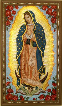 Virgin of Guadalupe is a very important lady in Mexican culture. It is the same Virgin Mary, the mother of Jesus, but seen as she appeared to Mexicans. She delivered the message of the True Religion to the indigenous people of Mexico. Madonna, Blessed Mother Mary, Blessed Virgin Mary, Virgin Mary Art, Mother Mother, Religious Icons, Religious Art, Mexican Heritage, Mexico Culture