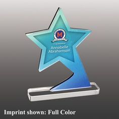 Star Shaped Full Color Acrylic Awards - Large Custom Trophies, Acrylic Awards, Most Luxurious Hotels, Shooting Stars, Star Shape, Corporate Gifts, App, Shapes, Inspiration