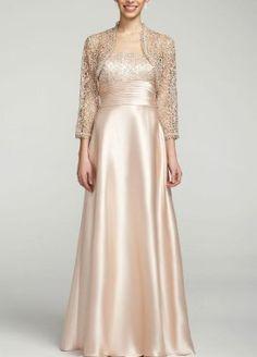 Davids Bridal 3/4 Sleeve Jacket Dress with Satin Skirt Style 55469D