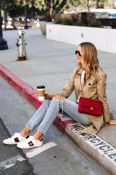 You can pair up your Gucci Ace Sneakers with some ripped jeans and trench coat and look hella Fashionsitaaa! Gucci Sneakers Outfit, Sneaker Outfits Women, Chanel Sneakers, Gucci Outfits, Gucci Shoes, Mode Outfits, Sneakers Fashion, Casual Outfits, Patiala Salwar