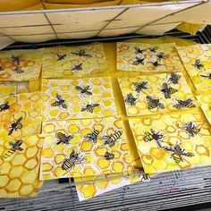 """""""Buzzy day in the art room! 2nd grade bees and hives are looking amazing!"""""""