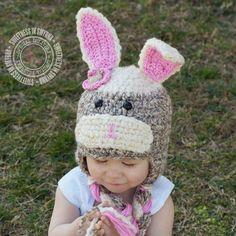 Crochet Baby Hats Crochet Sock Bunny Spring by SweetnessInSmyrna on etsy.