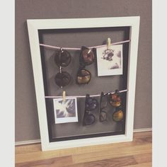 Sunglasses and polaroid picture storage display. Sunglasses Storage, Sunglasses Holder, Picture Storage, Polaroid Pictures, Polaroids, Shop House Plans, Flooring Options, Diy Storage, My Room