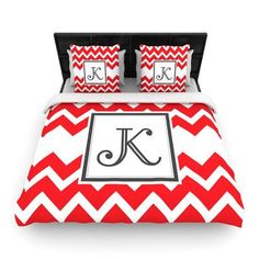KESS InHouse Monogram Chevron Red Woven Duvet Cover Size: Queen, Letter: X