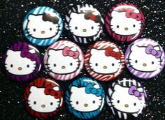 Hello Kitty Zebra 1 inch round flat back by Buttonbonanza702, $5.00