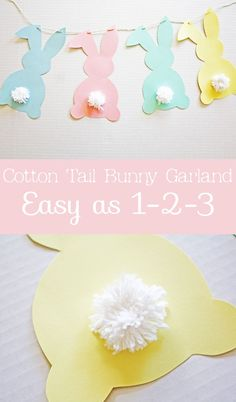 Ella and Annie Blog: Cotton Tail Bunny DIY Garland | An adorable and easy Easter decoration! #Easter #DIY #crafts