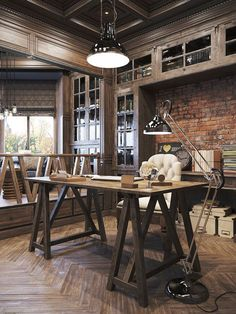 Earthy rustic home office design, incorporating lots of timber, exposed brick, industrial lighting & paneling, love the addition of the cream upholstered seating, contrasts beautifully with the surrou