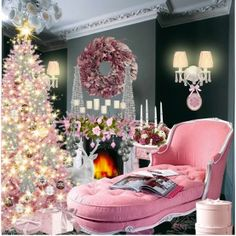 pink blingy, sparkly Christmas! white tree, pink wreath and FABULOUS pink chaise lounge! wow!