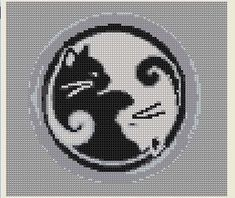 Cross Stitch Pattern Ying Yang Cat Black White PDF Download Balance Unity Feline. $5.00, via Etsy. @Jenny Moore design might be similar to what you were talking about with kitty and dragon. - Picmia