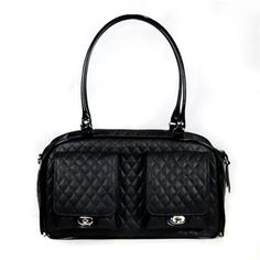 This Black Quilted Bag is a lightweight roomy dog carrier made from soft quilted faux leather and shiny black patent trim. The Bag fits dogs up to 10 lbs.