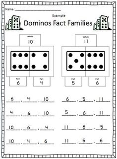 Here's a set of recording sheets for working on fact families using dominoes. (can also use this for subtraction and multiplication! Math Classroom, Kindergarten Math, Teaching Math, Math 2, Guided Math, Teaching Ideas, Math Strategies, Math Resources, Math Activities