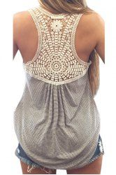 Lace Splicing Striped Letter Embroidery Stylish Scoop Neck Tank Top For Women (AS THE PICTURE,XL) | Sammydress.com Mobile