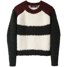 Isabel Marant Owel Colorblocked Knit (3.505.865 IDR) ❤ liked on Polyvore featuring tops, sweaters, jumpers, shirts, knit crop top, raglan shirts, cropped knit sweater, crop top and pullover sweater