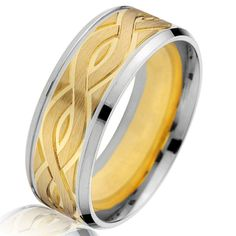 8a7b3f105d77 18K Two-Tone Gold 8.0 MM Wide Carved Wedding Ring. AnillosAlianzas De Oro  ...