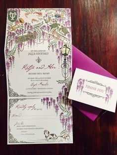 Katja and Alex's totally one of a kind custom New Orleans invitation suite totally shows off their playful personality! Find more custom illustrations, invitations and calligraphy at Lion In The Sun Park Slope, Brooklyn