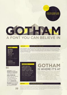 timeline poster for Gotham font | Typeface Analysis