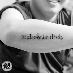 kids name tattoo lettering arm tattoo