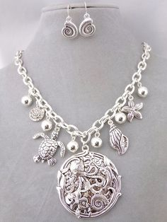 Silver Ocean Theme Necklace Earring Set Octopus Turtle Shell Fashion Jewelry New #FashionLeader