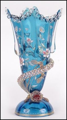 Blue Moser enamel and gilt glass vase with winding salamander decoration. by cristina