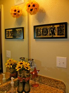 sunflower ball. easy and cheap craft. i hung in my bathroom.