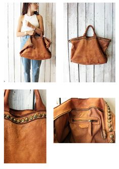 SHIP BAG 14 Handmade Italian Vintage Leather Tote  with studs di…