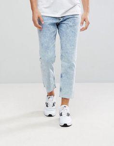 New Look Skate Fit Jeans In Acid Wash Blue - Blue