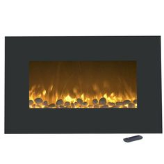 Stay comfy and warm this winter with the Northwest Color-Changing Electric Fireplace Heater. This beautiful home addition brings all the joy of a fireplace without any of the dangers of an open flame or wood chopping. Black Electric Fireplace, Recessed Electric Fireplace, Wall Mount Electric Fireplace, Fireplace Wall, Electric Fires, Nebraska Furniture Mart, Color Changing Led, Black Walls, Black House