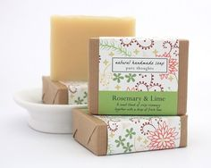 Rosemary & Lime Handmade Natural Soap    A inviting blend of crisp rosemary and sweet lime that together create an uplifting soap bar that's sure to wake up sleepy senses in seconds.    Each soap bar weighs approximately 120g.