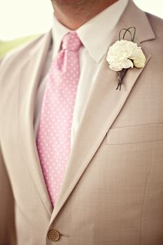 Pink Wedding Ideas by Almond Leaf Studios pink and beige grooms attire