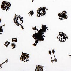 white Japanese fabric Alice in Wonderland Cosmo - Fairy Tale Fabric - Fabric - kawaii shop modeS4u
